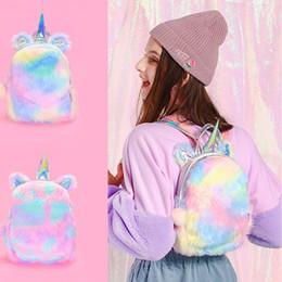 $enCountryForm.capitalKeyWord Australia - 201908 Laser Plush Colorful Unicorn Backpack Women Cute Mini Cartoon Shoulder Bag Children Girls Travel School Outdoor Knapsack M128F