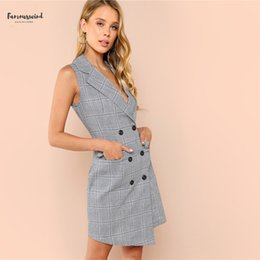 work dress shirts Australia - Work Plaid Wrap Button Pockets Vintage Dress V Neck Shirt Sexy Autumn Women Dress Elegant Mini Summer Dresses Designer Clothes