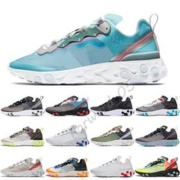 Girls Gold sneakers online shopping - 2019 React Element Running Shoes For Men Women Triple Black Royal Tint Metallic Gold Mens Trainer Sports Sneakers Runners