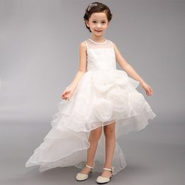 Princess White Evening Dress Australia - Real Photo Flower Girl Dresses Evening Party High Low First Communion Organza Princess Junior Pageant Dress Kids Clothes ST52