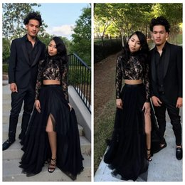 $enCountryForm.capitalKeyWord Australia - 2019 High Neck Black Lace Split Long Sleeves Two Piece Prom Dresses Mermaid Formal Party Gowns Evening Party Gowns Vestidos De Soiree