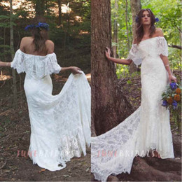 cheap boho winter wedding dresses 2019 - 2019 Cheap Boho Off-Shoulder Sheath Scalloped Lace Wedding Dresses With Long Train Romantic Beach Bohemian Bridal Gowns