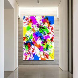 poster color paintings NZ - 1 Pcs Colorful Abstract Painting Wall Art Pictures Printed On Canvas Art Prints Poster Bright Color For Living Room Decor