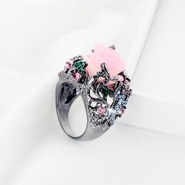 $enCountryForm.capitalKeyWord Australia - Fashion Alloy Ring Peony Rose Flower Tree Vine Lizard Handmade Jewelry Resin Crystal Beaded Colorful Rainbow Ring
