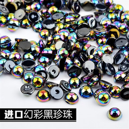 Flatback Half Pearls Australia - Symphony Black Nail Pearls 5mm Half Round Chameleon Nails Beads Flatback 3d DIY Nail Art Decorations Manicure Accessories 1 Box