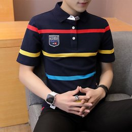 Mens Slim Fit Polos Australia - Summer Mens Polo Shirt Short Sleeve Casual Men PoloShirts Slim Fit Business Men's Polos Shirts Stripe Printed 4XL