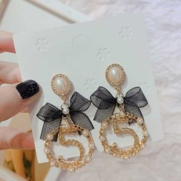 butterfly tassel earrings UK - Fragrance Big Letter Drop Dangle Tassel Earring Temperament Women 5 Digital Baroque Pearl Butterfly Pendant Earrings