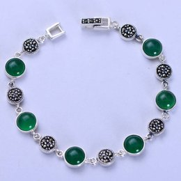 925 Marcasite Sterling Silver NZ - Fashion Jewelry 925 Sterling Silver Round Green Chalcedony with Marcasite Vintage Tennis Bracelet for Women Girl