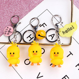 doll keychains for girls NZ - Little yellow duck doll keychain cute trend fashion car hanging bag pendant gift for girl womens accessoires boyfriend gift