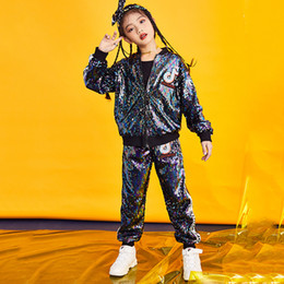$enCountryForm.capitalKeyWord Australia - 2019 New Kids Hip Hop Dance Costumes Children Colourful Jazz Sequin Jacket Pants Girls Stage Outfit Kids Street Dance Clothing
