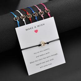 Großhandel Machen Sie einen Wunsch Armband Geschenkkarte - geflochtene Wunsch Armband Gold-Ton-Legierung Wellenform Schmuck Bettelarmband für Mädchen Womens Kids