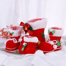 christmas gift shoes NZ - 1pcs New Merry Christmas Santa Boot Shoes Hanging Candy Gift Bags Xmas Tree Decoration