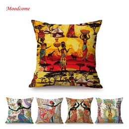 weave african 2019 - Flower Floral African Woman Black Girl Dancing Pattern Home Decorative Sofa Throw Pillow Case Cotton Linen Chair Cushion