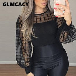 Wholesale black mesh long sleeve shirt for sale – plus size Women Sheer Grid Mesh Casual Blouse Shirt Women Long Sleeve Tops Blouse Black Plaid Slim Tops Summer Fall Lantern Sleeve Blusas SH190824