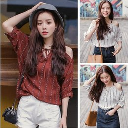 blouses necklines Australia - New Korean fashion personality joker loose show thin neckline tie vertical stripe off-the-shoulder short sleeve shirt blouse women