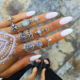 Red diamond jewelRy sets online shopping - 2019 Bohemian Antique Silver Midi Finger Rings set For Women crystal diamond Turtle Cross Lotus Knuckle Rings Fashion Jewelry in Bulk