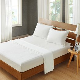 $enCountryForm.capitalKeyWord Australia - Water-Washed Ball bed sheet white Beddingset Solid Queen King Size Bedding Sheet 4 PCS(1 Mattress Cover+1 Bed Sheet+2 Pillowcases)