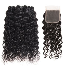 $enCountryForm.capitalKeyWord Australia - 9A Water Wave Body Wave Human Hair Bundles with Closure Deep Wave 3Bundles with Lace Closure 8-28 inch Remy Human Hair Extensions
