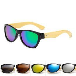 bamboo wood sunglasses men wholesale 2019 - Original Wooden Bamboo Sunglasses Men Women Mirrored UV400 Sun Glasses Real Wood Shades Gold Blue Outdoor Goggles Sungla