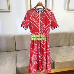 $enCountryForm.capitalKeyWord NZ - Fashion Women Letter Chevron Twill Dress Shirt Stand Crew Neck Short Sleeve Polo Shirt Mid-Calf Casual Dress