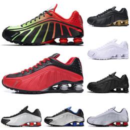 Black Gold Australia - Hot Sale Designer Shox R4 Challenge Red Running Shoes Men Triple White Black Gold Athletic mens Trainer Tennis Sports Sneakers runner