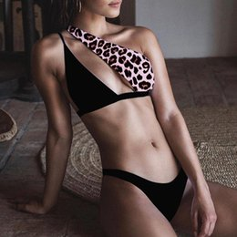 lycra leopard suit NZ - Misswim Sexy black one shoulder bikini set 2020 Leopard swimsuit female Hollow out swimwear women Summer bathers bathing suit