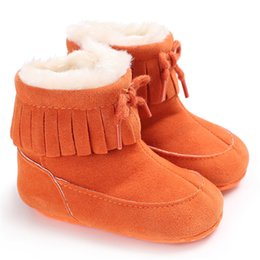 $enCountryForm.capitalKeyWord Australia - Newborn Infant Baby Girl Boys Solid Color Tassel Boots Fashion Toddler Bow-knot Winter Warm Soft Shoe Short Boots 0-18 Month A20