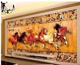 $enCountryForm.capitalKeyWord Australia - modern wallpaper for living room Eight Horse Figure 3D Woodcarving TV Background Wall