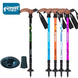 skiing poles Canada - Pioneer Trekking Ski Pole the aged Walking Stick Adjustable Alpenstock Shock Aluminum Hiking and Camping Camping & Hiking Climbing Camping T