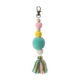 China Doreen Box Plush Pom Pom Ball Tassel Keychain Keyring Bag Hanging Jewelry Wood Beads Antique Bronze Lobster Clasp 21cm, 1 PC cheap antique wood ball suppliers