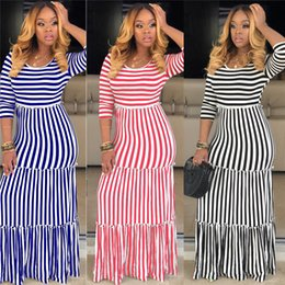 long sleeve maxi dresses Australia - Women plus size maxi dresses fall elegant vintage sexy club striped long skirts long sleeve holiday party dresses beachwear hot selling 1290