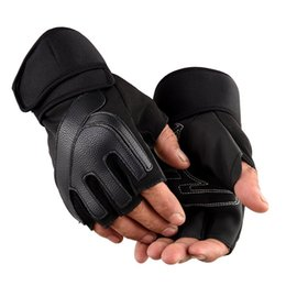 leather cycle gloves half finger NZ - Men Women Half Finger Gym Fitness Weightlifting Gloves Outdoor Sports Cycling Non-slip Tactical Long Wrist PU Leather Gloves C37