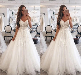 $enCountryForm.capitalKeyWord Australia - 2019 Arabric Wedding Dresses Deep V-Neck Appliques A Line Tulle Sweep Train Country New Bridal Gowns Elegant Castle Chapel Vestidoe De Noiva