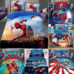 Nuovo 3Pcs Copripiumino Spiderman hero Cotone Biancheria da letto Set Copripiumino Letto Singolo federa in Offerta