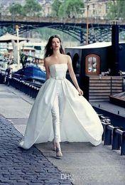 $enCountryForm.capitalKeyWord Australia - Elegant Strapless Jumpsuit Wedding Dresses With Detachable Train 2019 vestido de novia boho wedding dress robe de mariée