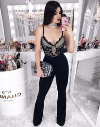 Bandage Jumpsuits Australia - Newest Sexy V Neck Black Lace Bandage Jumpsuit 2019 Celebrity Designer Fashion Jumpsuit