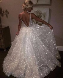 Glitter Bling Sequined Prom Dresses 2019 Long Bridesmaid Dresses Cheap  Girls Sexy Straps Backless Deep V Neck Backless Cocktail Party Wear 88799a359355