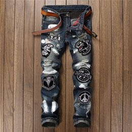 $enCountryForm.capitalKeyWord NZ - New trend mens fashion jeans stitching nightclub type embroidery tiger head no elastic slim straight pants