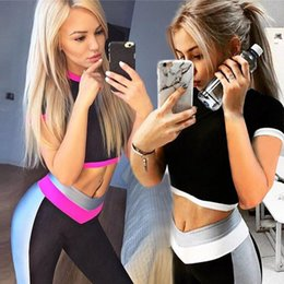 Ladies gym cLothes online shopping - 2Colors Gym Clothing crop top Workout Clothes Women Yoga Set Woman Sports Fitness wear Fitness Suit Lady Leggings Sports Bra Sport Outfit