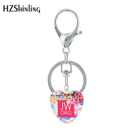electronic butterflies UK - 2019 New Butterfly Flower JW.ORG Heart Shaped Keychain Glass Dome Jehovah Pictures Keyring Gifts Jewelry