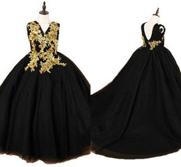 $enCountryForm.capitalKeyWord UK - Black Gold Girls Pageant Dresses Crystal Beaded Applique V-neck Tulle Flower Girl Dresses First Holy Communion Dress 2019 Toddler Party
