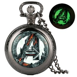 avengers dresses NZ - Retro Cool Luminous Avengers Theme Quartz Pocket Watch Vintage Necklace Fob Chain Old Fashioned Men Women Pendant Watches 2019