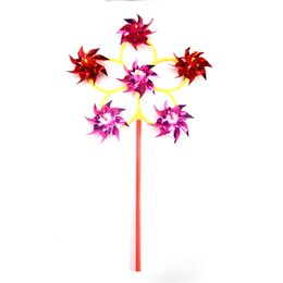 yard spinners Canada - 6 Wheel Colorful Plastic Sequins Windmill Whirligig Wind Spinner Home Yard Garden Decor
