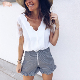 Black holiday Blouses online shopping - Women Solid Black Blouses White Chiffon Wave V Neck Button Short Lace Sleeve Casual Blouse Woman Ladies Holiday Shirt Blouse