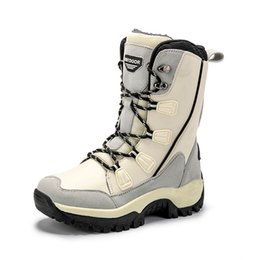 Toptan satış Kış açık kar botları bayanlar yüksek namlu Su geçirmez sıcak kayak Boots kadife Büyük boy Orta varil pamuk Boots kalınlaşmış karşıtı skid