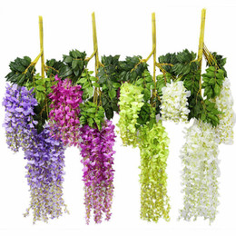 $enCountryForm.capitalKeyWord Australia - 110CM Wedding Decor Artificial Silk Wisteria Flower Vines hanging Rattan Bride flowers Garland For Home Garden Hotel
