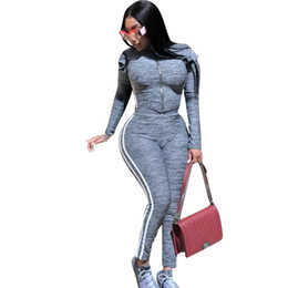ladies casual trouser suits Australia - Autumn Spring Side Striped 2 Pieces Set Zipper Long Sleeve Tops And Trousers Casual Gray Color Women Pants Suit Plus Size Lady Tracksuits