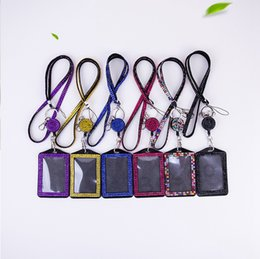 diamond id UK - Rhinestone Bling Lanyard ID Card Holder Crystal Diamond Necklace Neck Strap With Horizontal Lined ID Badge Holder and Key Chain DBC BH2716
