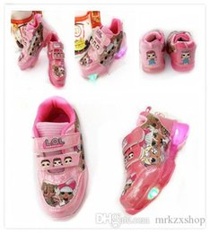 Wholesale 2019 new set Baby Girls LED Light Shoes Anti Slip Sports Boots Kids Sneakers Children Cartoon DOLL shoes DHL free ZX009
