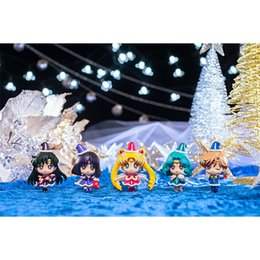 sailor moon action NZ - Hot Sales 5Pcs Lot Anime Sailor Moon Christmas Mercury Jupiter Chibi Saturn Sailor Moon Doll PVC Action figure model Ornaments Toy Gift